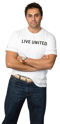 United Way stock photo of a man in a 'Live United' T-shirt