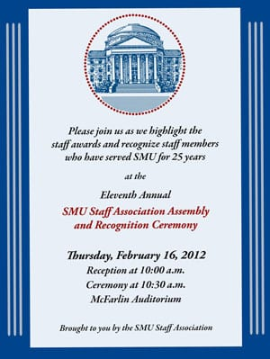 2012 SMU Staff Recognition Ceremony invitation
