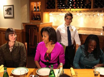 SMU staff member Andrea Roberts at lunch with First Lady Michelle Obama, February 2012 - photo by Brad Loper, The Dallas Morning News