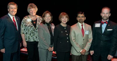SMU President R. Gerald Turner, Cyndi Heath, Cindy Gautreaux, Patricia Ann LaSalle, Niraj Bhagat and Tommy Newton at the 2012 Staff Recognition Ceremony