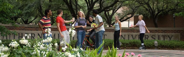 SMU students gathered at the Bishop Boulevard gateway marker