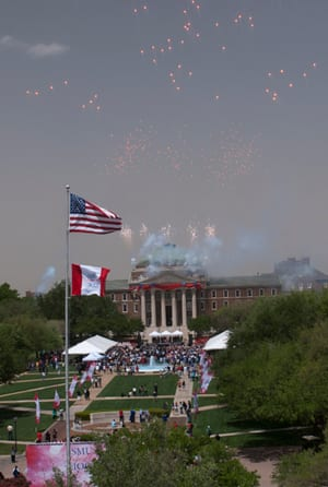 Fireworks over Dallas Hall at SMU Founders' Day 2011. Photo by Hillsman S. Jackson.
