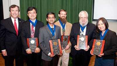 SMU's 2012 Ford Research Fellows with President R. Gerald Turner - Jingbo Ye, Dinesh Rajan, Paul Krueger, William Abraham and Lisa Pon