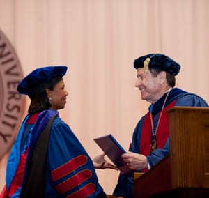 Former U.S. Secretary of State Condoleezza Rice with SMU President R. Gerald Turner