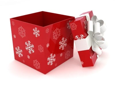 Stock photo of a wrapped holiday gift