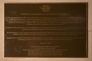 The Dallas Hall centennial plaque at SMU