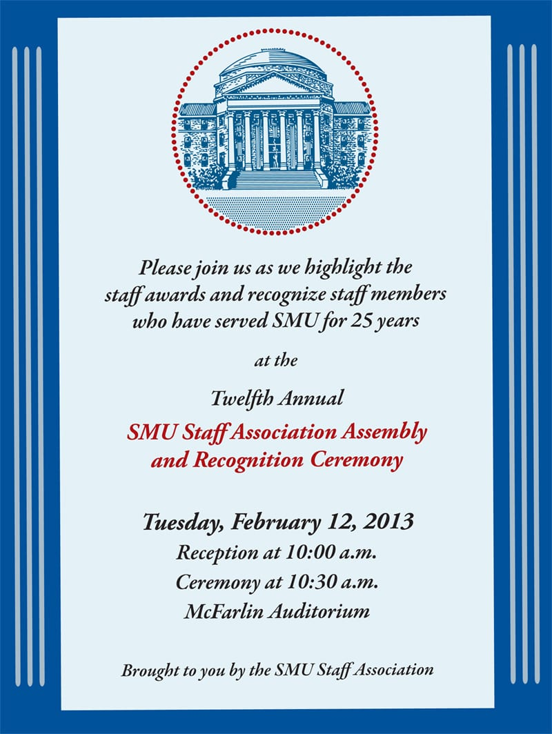 SMU Staff Recogntion Ceremony 2013 invitation