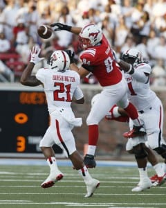 Beau Barnes (94) deflects a pass during the Texas Tech game. Photo c/o SMU Athletics. Photo Credit: Tim Heitman-USA TODAY Sports