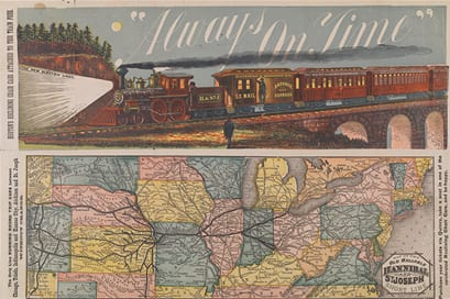 Hannibal and St. Joseph Railroad Company timetable from 1880