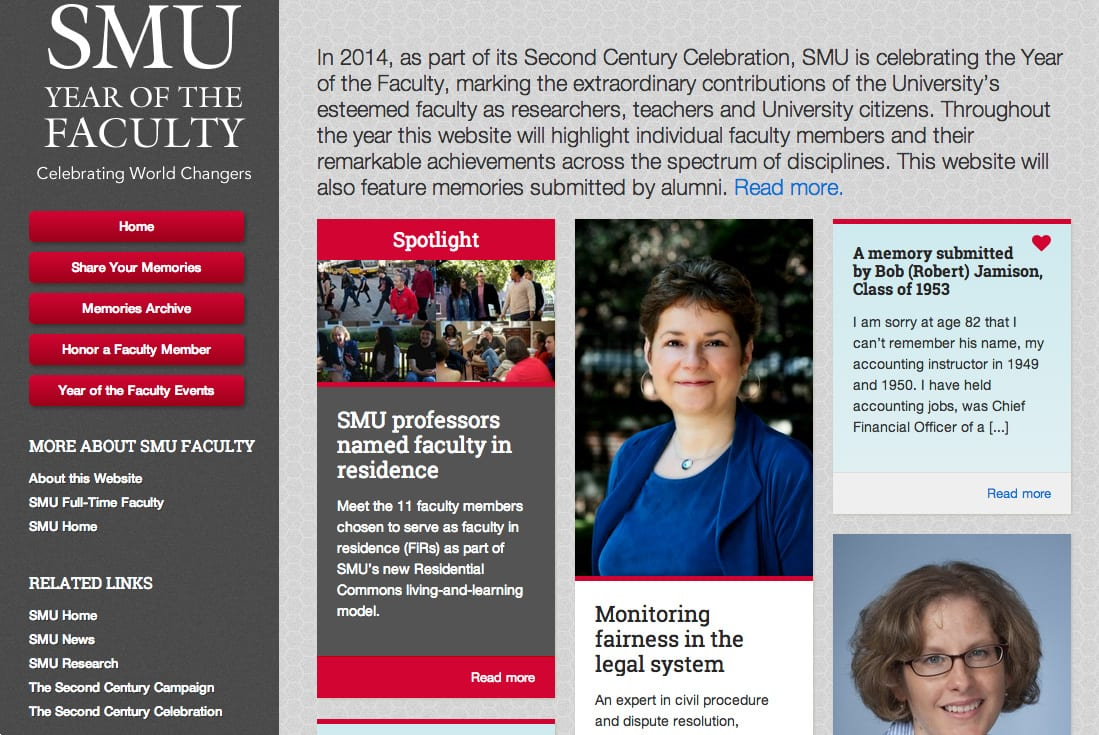 SMU's Year of the Faculty website