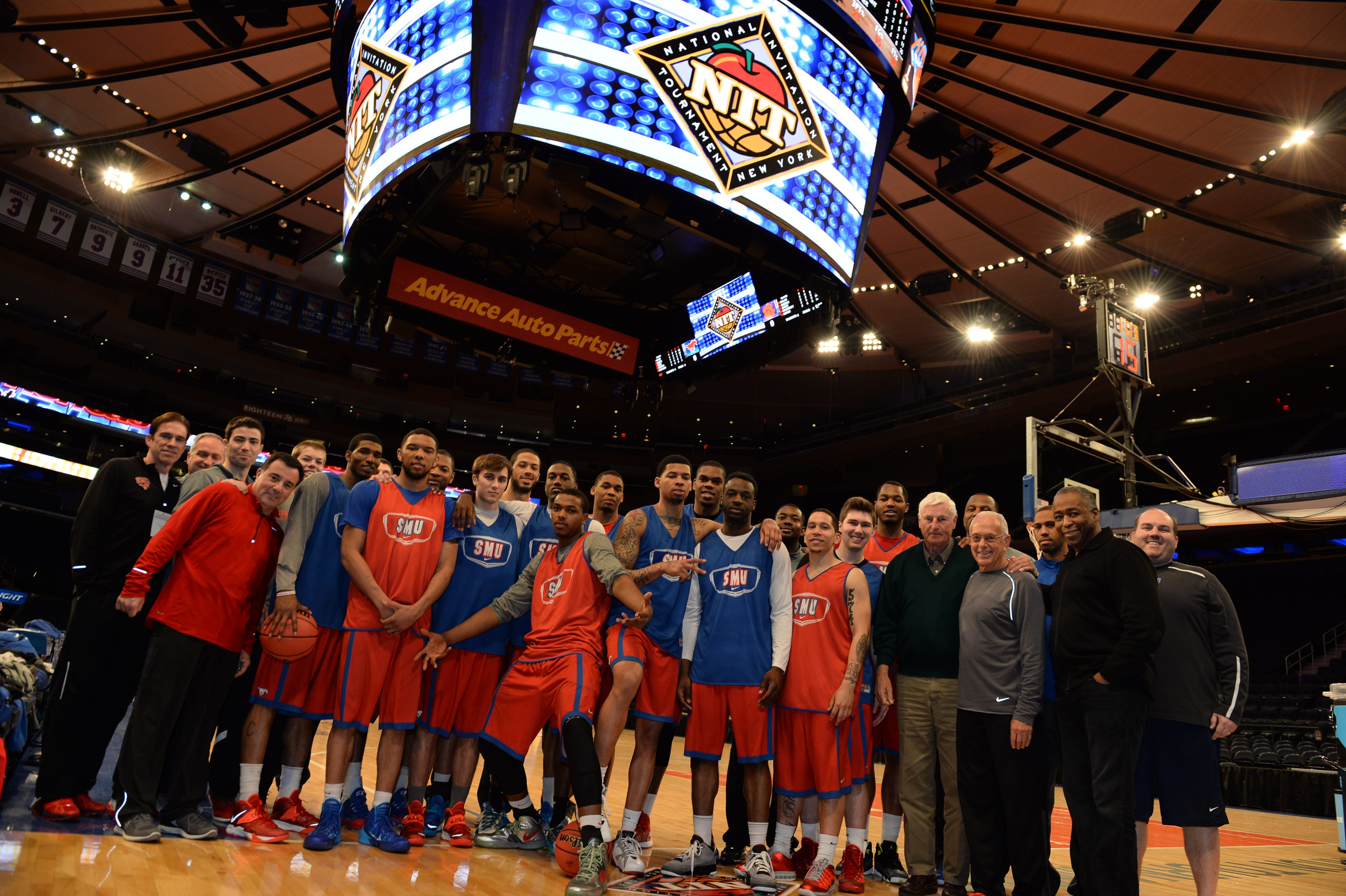SMU Men's Basketball during the shootaround in Madison Square Garden, NIT 2014
