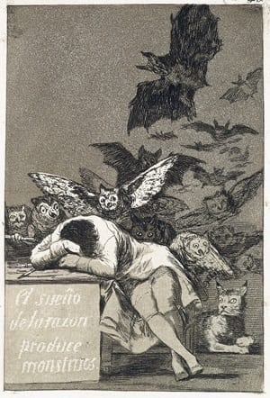Francisco de Goya, 'The Sleep of Reason Produces Monsters,'  Los Caprichos, SMU Meadows Museum. Photo by Michael Bodycomb