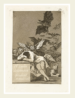 Francisco de Goya y Lucientes (1746-1828). Los Caprichos. The Sleep of Reason Produces Monsters. Meadows Museum, SMU.