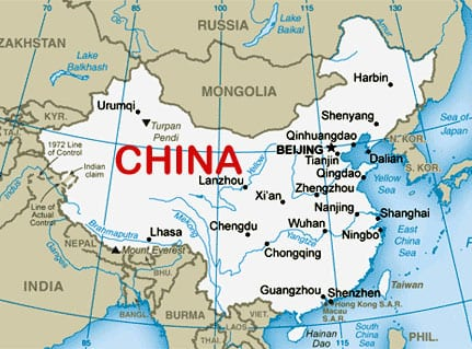 Map of China courtesy of the CIA World Factbook.