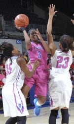 SMU's guard Gabrielle Wilkins (3) shoots against Tulsa at Moody Coliseum.  Photo by Vladimir Cherry.