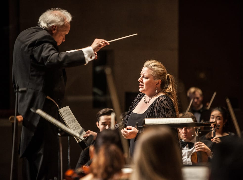 Conductor and SMU Prof. Paul Phillips with mezzo soprano Michaela Martens, Meadows at the Meyerson, March 31, 2015