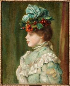 'Girl with Hat with Cherries,' 1880, Pierre Auguste Renoir