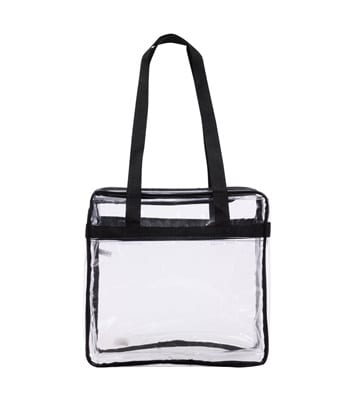 Clear handbag conforming to Moody Coliseum clear-bag policy