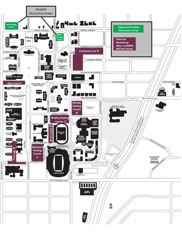2015 SMU Football gameday parking map