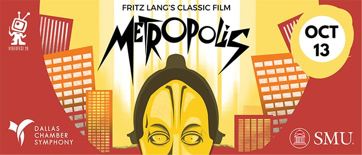 Metropolis banner - SMU Dance, Dallas Chamber Symphony, Dallas Video Fest