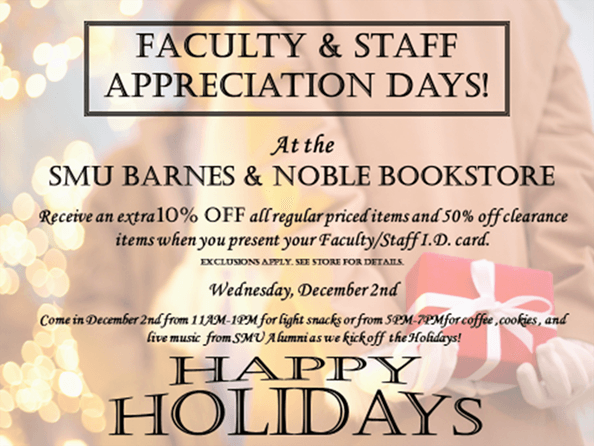 Faculty-Staff Appreciation Days graphic, SMU Bookstore, 2015