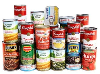 Stock photo of canned foods
