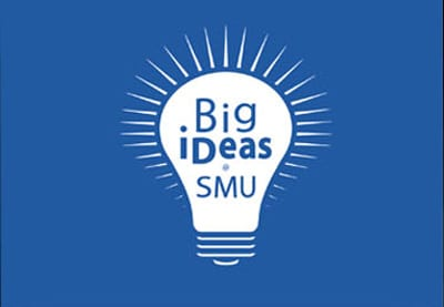 SMU Big iDeas logo, blue background-400