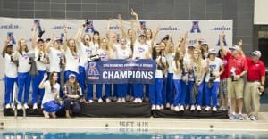 Day four of the 2015 American Athletic Conference Swimming & Diving Championships at the Campus Recreation and Wellness Center Natatorium in Houston, TX on Saturday February 20, 2016. (Ben Solomon/American Athletic Conference)