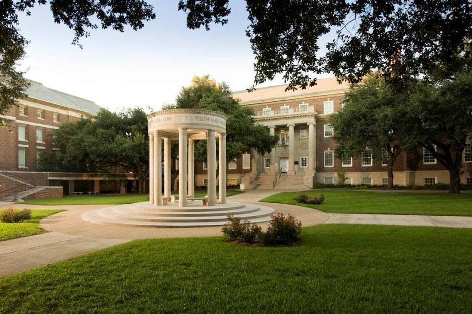 Umphrey Lee Cenotaph, Dedman School of Law quad, SMU