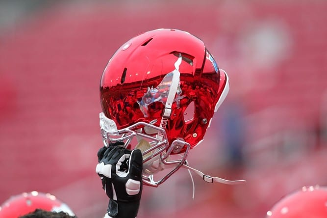 SMU Football red chrome helmet