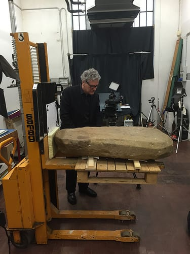 Greg Warden with Etruscan stele