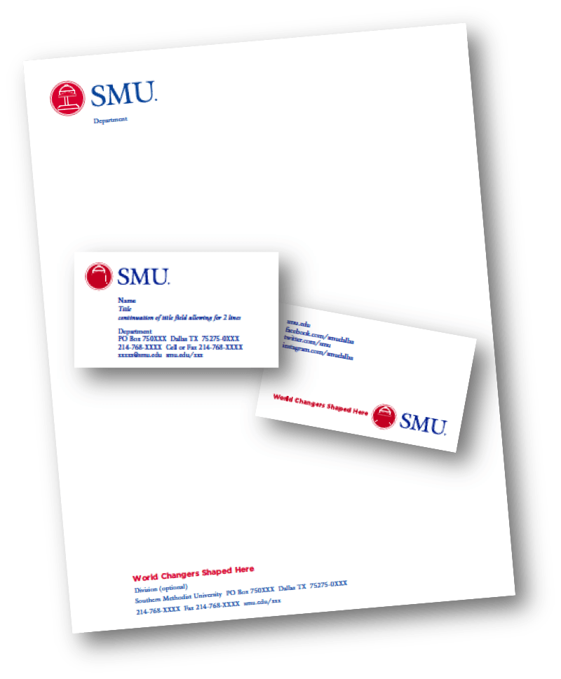 Stock image of SMU stationery