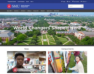 SMU homepage refresh, first screen, 400 pixels