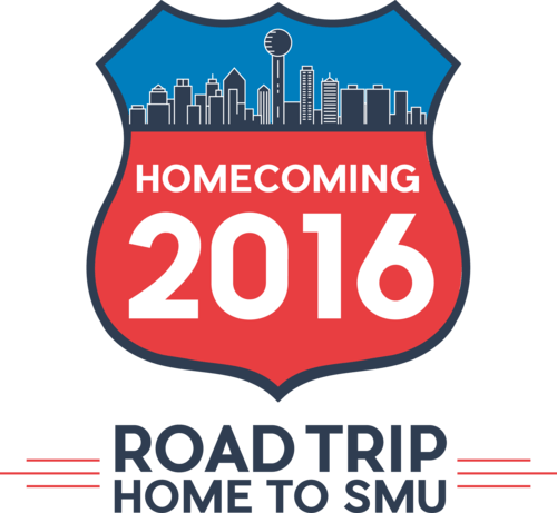 SMU Student Foundation Homecoming 2016 logo, 'Road Trip Home to SMU'