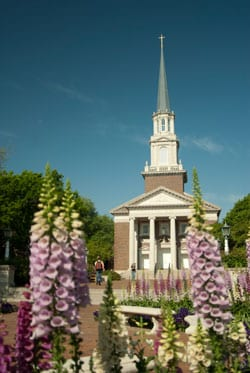 SMU Perkins Chapel with blue foxgloves, 2015, by Hillsman S. Jackson - LR
