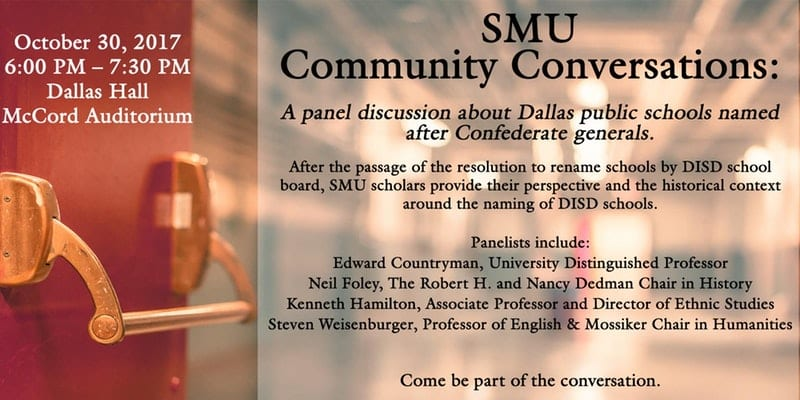 SMU Community Conversations - Dallas Public Schools Named After Confederates