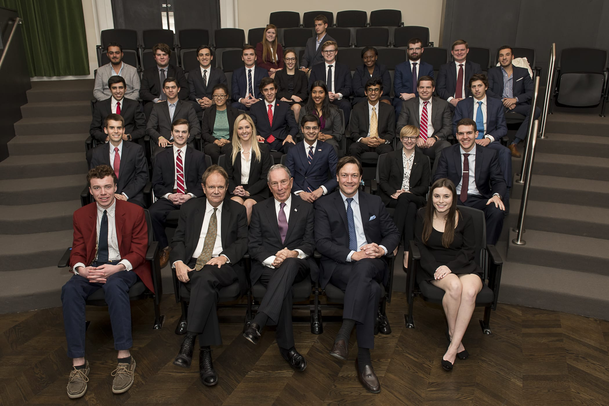 Michael Bloomberg with SMU students