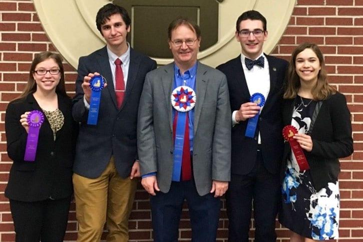 SMU Debate at the 2018 TIFA State Championships - Darcy Wyatt, Chip Myers, Dr. Ben Voth, Matthew Lucci, Maggie Cook-Allen