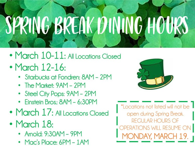 SMU Spring Break 2018 dining outlet hours