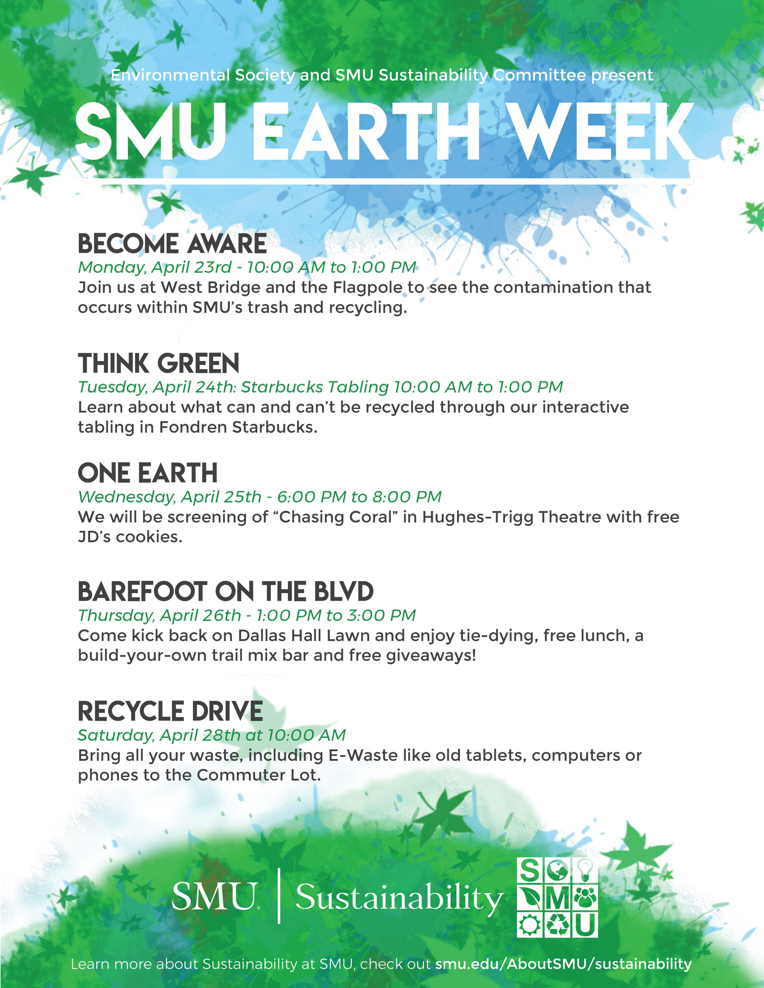 Electronics Recycling Smu Forum We Recycle The Following And Much More Earth Week Flier 2018 Demonstrations