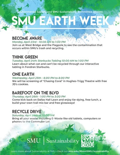 SMU Earth Week Flier 2018