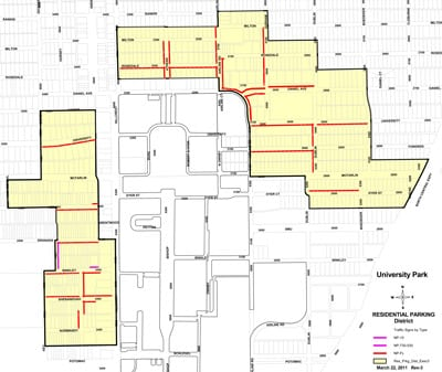 The final SMU Residential Parking District map from the City of University Park