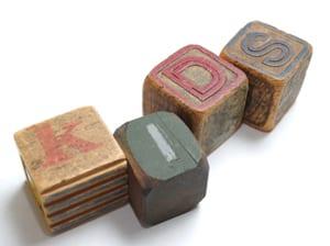 Stock antique ABC blocks