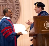 Honorary degree recipient Arthur Mitchell with SMU President R. Gerald Turner