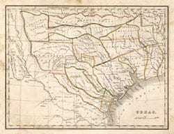 Map of Texas, 1830s
