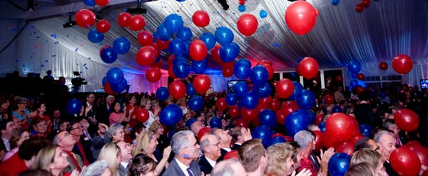 Campaign kickoff balloon drop