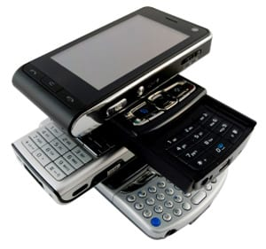 Stack of cell phone-PDAs