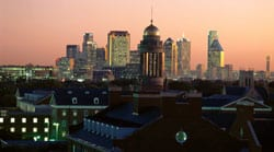 SMU with Dallas evening skyline