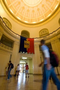 Students in Dallas Hall Rotunda