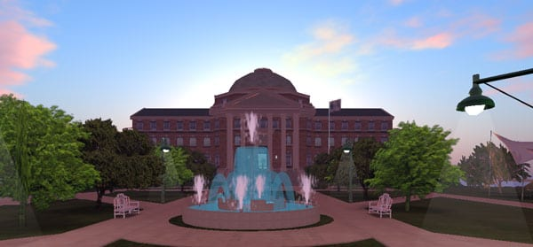 SMU's Dallas Hall and Main Quad in Second Life